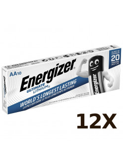 12X Pack of 10 ENERGIZER AA ULTIMATE LITHIUM BATTERIES 1.5v LR6 L91