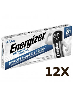 12X Pack of 10 Energizer AAA ULTIMATE Lithium Batteries LR03 L92 1.5v