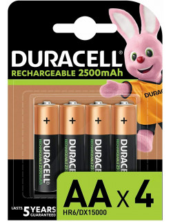 Pack of 4 Duracell Rechargeable AA 2500 mAh Batteries Ideal for Xbox Controller