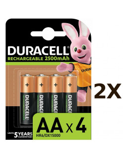 2X Pack of 4 Duracell Rechargeable AA 2500 mAh Batteries for Xbox Controller