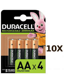 10X Pack of 4 Duracell Rechargeable AA 2500 mAh Batteries for Xbox Controller